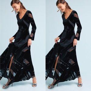 Anthropologie Selina Velvet Brushstroke Maxi Dress